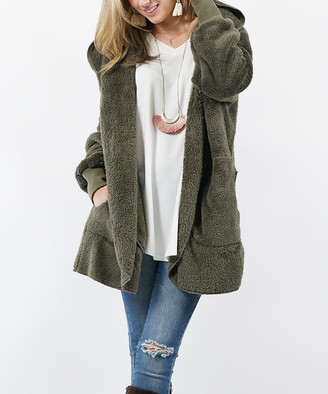 Lydiane Women's Non-Denim Casual Jackets OLIVE - Olive Faux Fur Pocket Cocoon Hooded Jacket - Women
