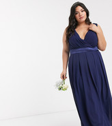 TFNC Plus Plus bridesmaid wrap front bow back maxi dress in navy