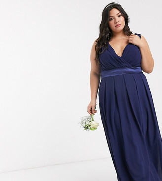 TFNC Plus bridesmaid wrap front bow back maxi dress in navy