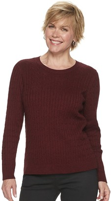 Croft & Barrow Women's Essential Cable-Knit Crewneck Sweater