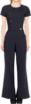 Max Studio by Leon Max Bonded Jersey Double Breasted Jumpsuit With Flared Leg