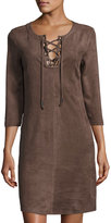 Neiman Marcus Lace-Up 3/4-Sleeve Faux-Suede Dress, Mushroom