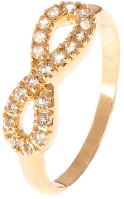Graziela Gems Infinity Gold Over Silver White Topaz Ring