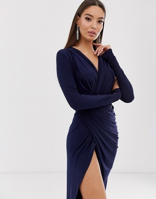 Club L London twist waist wrap maxi dress