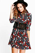 boohoo Edna Lace Trim Shirt Dress
