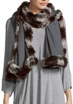 "Badgley Mischka Solid Faux Fur-Trimmed Scarf - 80"" X 24"
