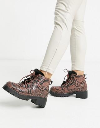 Vero Moda faux snake hiking boots