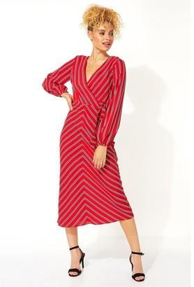 M&Co Roman Originals wrap stripe midi dress