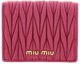 Miu Miu Wallet Squared Soft Matelassé Leather Wallet With Logo