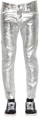 DSQUARED2 16cm Skater Metallic Waxed Denim Jeans