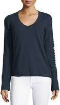 James Perse Long-Sleeve V-Neck Graphic T-Shirt, Very Light Blue