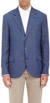 Brunello Cucinelli MEN'S HERRINGBONE THREE-BUTTON SPORTCOAT-BLUE SIZE 46