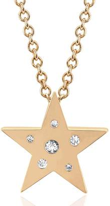 Ef Collection 14K Rose Gold Diamond & White Sapphire Mini Star Shape Pendant Necklace