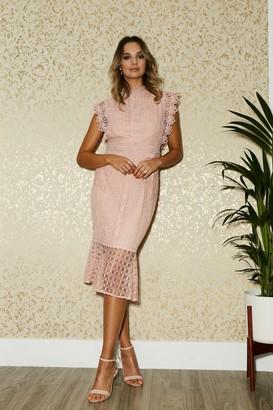 Paper Dolls Latimer Pale Pink Lace Peplum Midi Dress