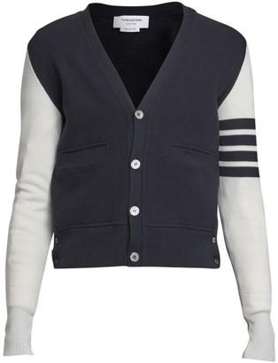 Thom Browne Hybrid V-Neck Cashmere & Wool Cardigan