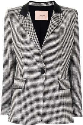 Twin-Set Single-Breasted Houndstooth Blazer