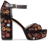 Sam Edelman Marsha Leather-trimmed Embroidered Velvet Platform Sandals - Black