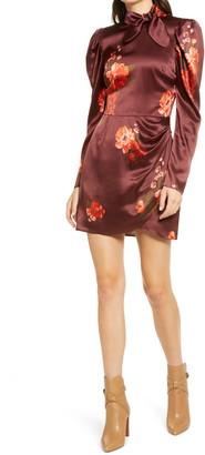 Reformation Livie Print Long Sleeve Silk Minidress