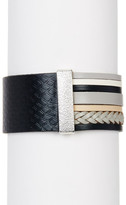 Saachi Black Argyle Genuine Leather Bracelet