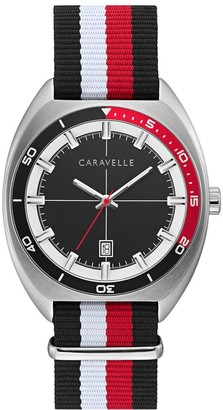 Caravelle by Bulova Black & Red Nylon Strap Watch