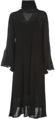 Liviana Conti Wool Long Dress L/s High Neck W/slit