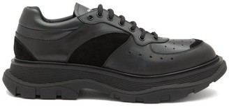 Alexander McQueen Exaggerated-sole Suede-panelled Leather Trainers - Black