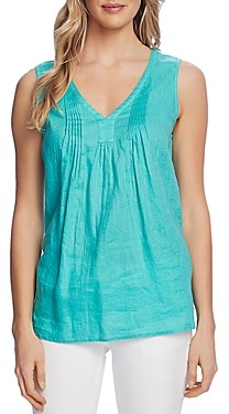 Vince Camuto Pin-Tucked V-Neck Top
