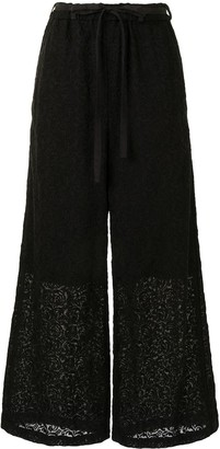 Y's Embroidered Wide-Leg Trousers