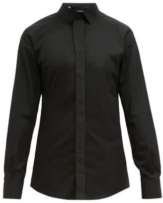 Dolce & Gabbana Logo Placket Cotton Poplin Shirt - Mens - Black