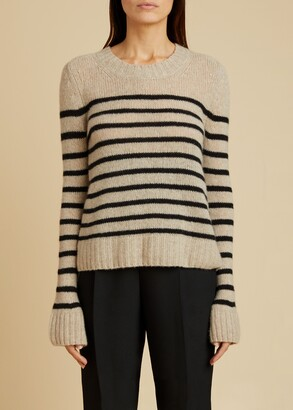 KHAITE The Tilda Sweater in Powder and Black Stripe