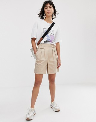 ASOS high waist belted shorts