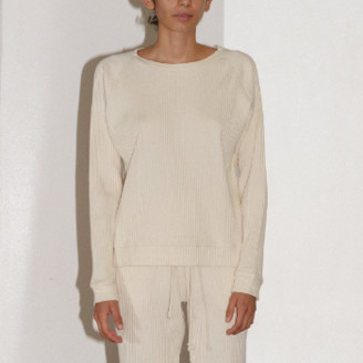 Base Range Off White Fleece Rib Basic Sweat - s