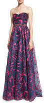 Notte by Marchesa Strapless Sweetheart Floral Embroidered Ball Gown, Navy