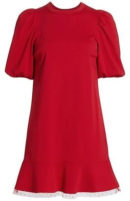 RED Valentino Abito Jersey Puff-Sleeve Dress