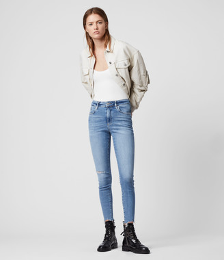 AllSaints Phoenix Ankle Ultra High-Rise Superstretch Skinny Jeans, Royal Blue