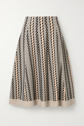 Akris Striped Textured Wool-blend Midi Skirt - Neutral