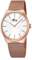 Lotus Unisex Quartz Watch with Silver Dial Analogue Display and Rose Gold Stainless Steel Rose Gold Plated Bracelet 18286/1