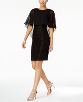 Betsy & Adam Cape Sheath Dress