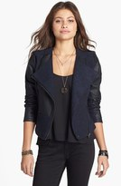Dollhouse Tweed & Faux Leather Moto Jacket (Juniors) (Online Only)
