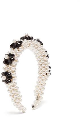 Shrimps Blaze Faux-pearl Embellished Headband - White Black