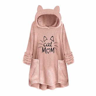 Toamen Women's Womens Hoodie Sweater Toamen Faux Fur Warm Letter Embroidery Cat Ear Hooded Sweatshirt Coat