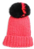 Eugenia Kim Rain Fox Fur Pom-Pom & Wool Beanie