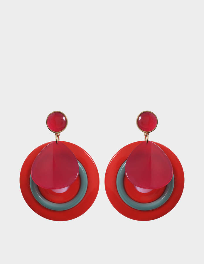 Giorgio Armani Plexi Earrings in Red Acetate
