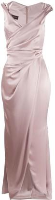 Talbot Runhof Towanda gathered wrap-style dress