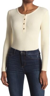 Elodie K Long Sleeve Ribbed Slim Fit Henley Sweater