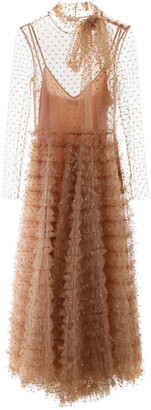 RED Valentino RUFFLED TULLE DRESS WITH GLITTER POLKA DOTS 40 Beige
