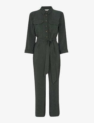 Whistles Lacey waist-tie utility crepe jumpsuit