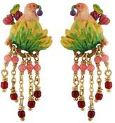Les Nereides Lovely Canaries Pink Bird on Its Leafy Branch and Charms Clip Earrings - Pink - CLIP