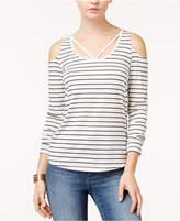 Planet Gold Juniors' Striped Cold-Shoulder Top