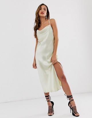 Asos Design DESIGN cami midi slip dress in high shine satin with lace up back-Cream